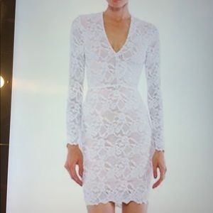Dove lace deep v neck wisteria dress